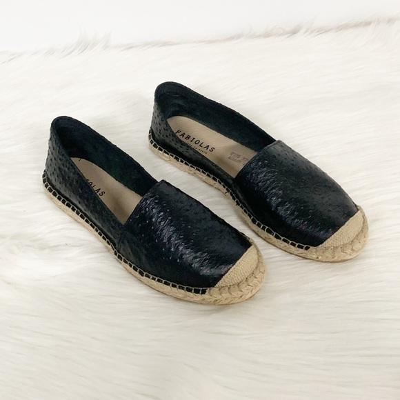 Fabiolas Shoes - Fabiolas | Black Leather Espadrille Loafers
